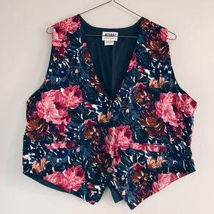 gorgeous 90's vintage dark floral vest with clasp
